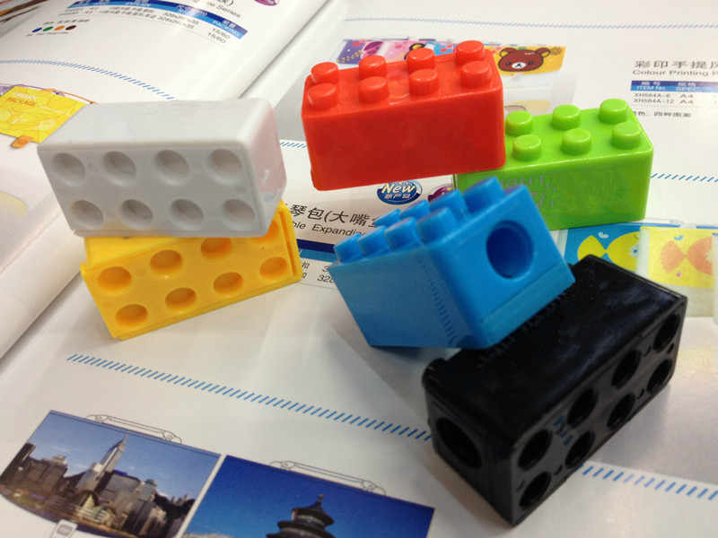 6pcs Creative חמוד קריקטורה צעצוע אבני בניין פלסטיק עיפרון מחדד ילדי מתנת תלמיד מכתבים אספקת כיתת