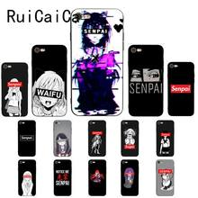 Sugoi Senpai Anime Waifu Zachte Zwarte Telefoon Case Voor Iphone 8 7 6 6S 6Plus X Xs Max 5 5S Se Xr 10 Cover(China)