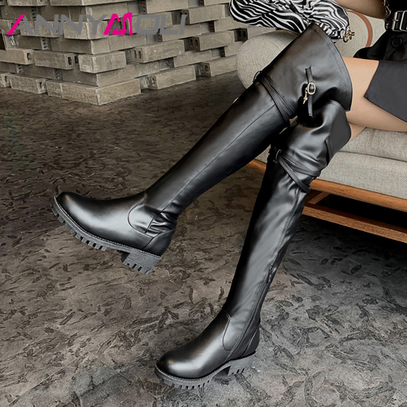 ANNYMOLI Med Heel Over The Knee Boots Woman Shoes Block Heel Thigh High Boots Zip Buckle Female Long Boots Autumn Winter Size 43