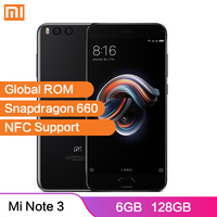 Global ROM Xiaomi Mi Note 3 Smartphone 6GB 128GB Snapdragon 660 NFC 12MP+12MP Dual Camera 4 Side Curved Glass Mobile Phone