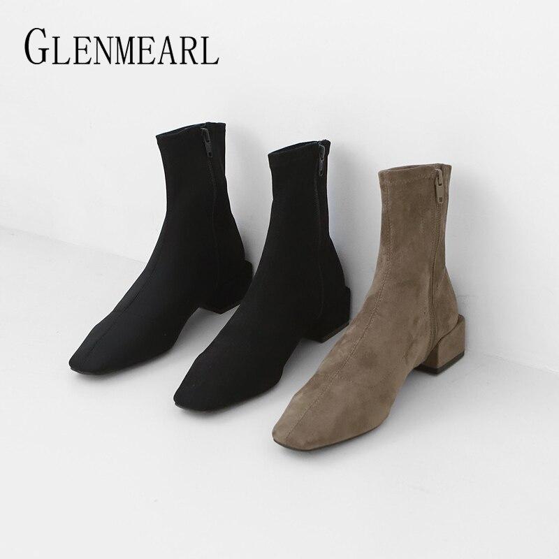 Ботильоны для женщин; зимняя обувь; Брендовые женские ботинки на квадратном каблуке; простая повседневная обувь на молнии; коллекция 2019 года; сезон весна осень; новое поступление|Полусапожки|   | АлиЭкспресс - Женская обувь