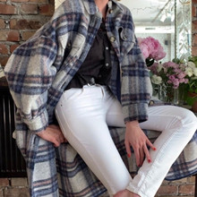 Woolen-Coat Long Outwear Single-Breasted Women Autumn/winter Plaid for 2-Colors