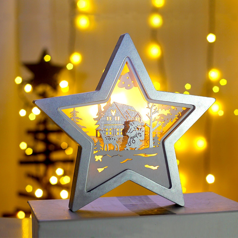 New Star Shape 1PC Wooden Star Shaped Lamp Christmas Ornament Holiday Home Decor Night Light Bedside Lamp Festival Decoration in Party DIY Decorations from Home Garden