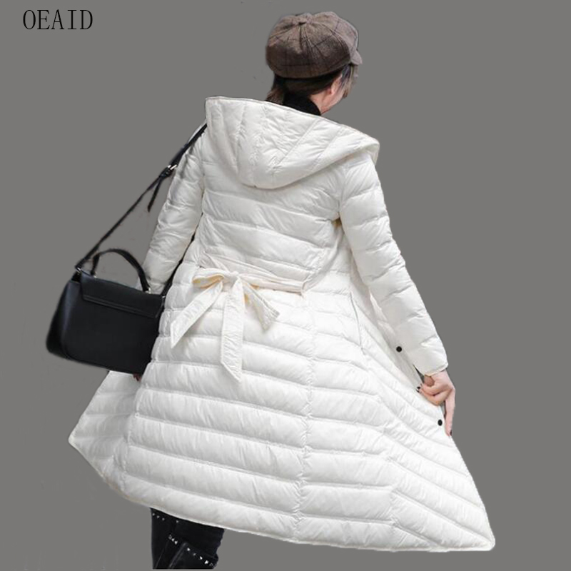 New White Duck   Down   Jacket Women   Down     Coat   Long 2019 Autumn Winter   Coat   Female Slim Fashion Women's   Down   Jacket Outerwear