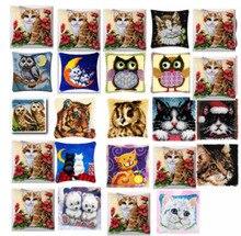 Koty poduszka zestaw do haftu puchowego poduszka mata DIY ręcznie robiony kwiat 42CM 42CM haft krzyżykowy robótki szydełkowanie poduszka haft