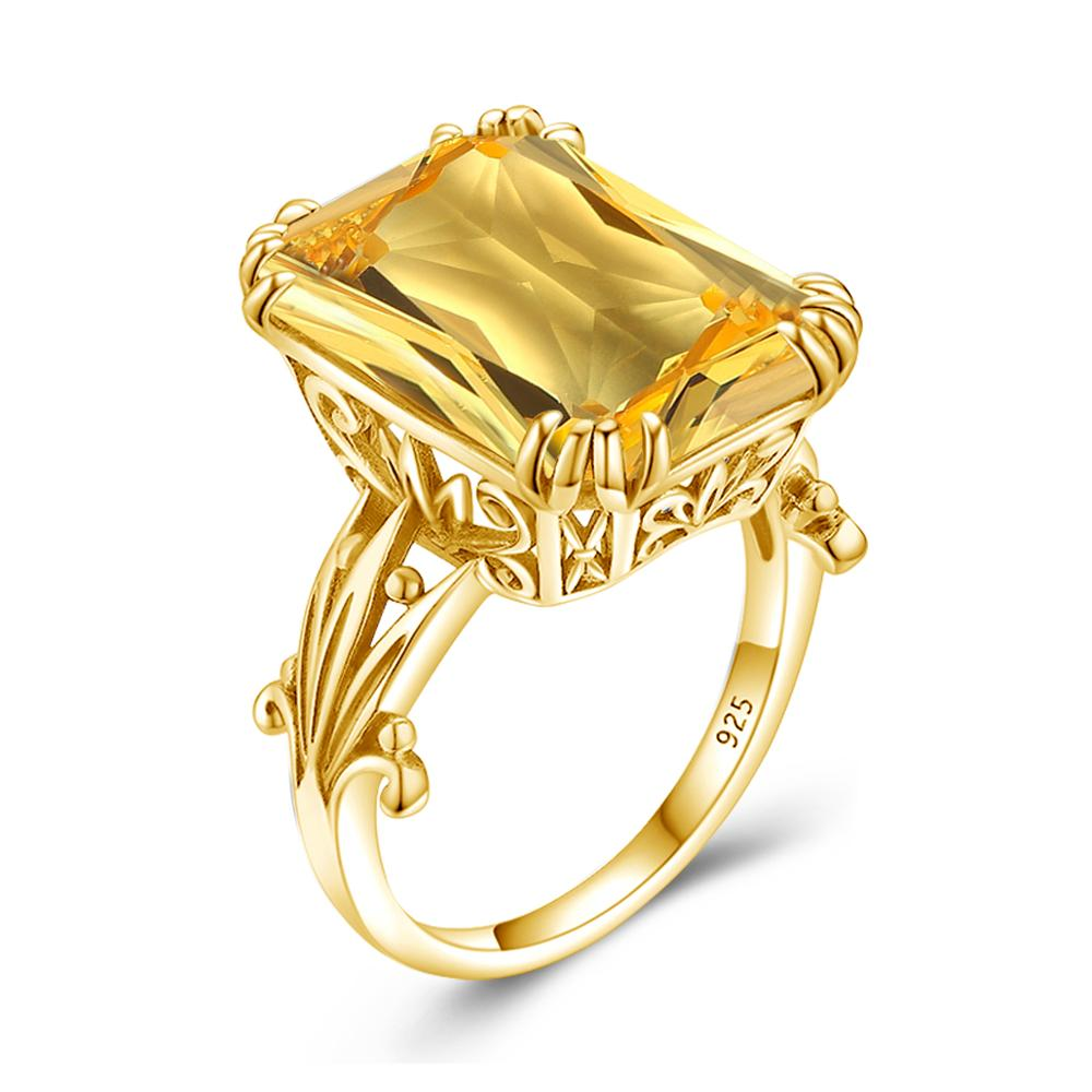 18K Gold Color Jewellery Ring For Women Men Square Shape Topaz Citrine Gemstone Ring Party Female Silver Ring Fine Jewely