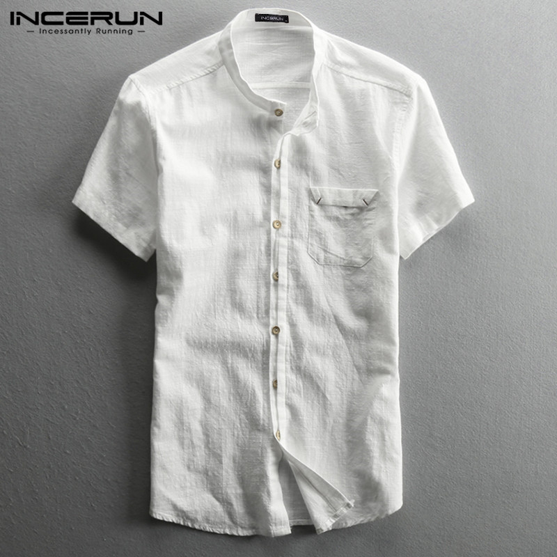 INCERUN 2020 Solid Color Men Shirt Brand Cotton Short Sleeve Stand Collar Streetwear Casual Shirts Button Camisas Harajuku S-5XL
