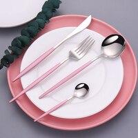 Abendessen Set Besteck Messer Gabeln Löffel Rosa Silber Geschirr Besteck Set Edelstahl für Hochzeiten Geschirr Dropshipping