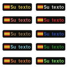 A bandeira espanhola espanha 10x2.5cm bordou o remendo feito sob encomenda do texto das listras o ferro do emblema ou remendos do revestimento protetor de velcro para a mochila