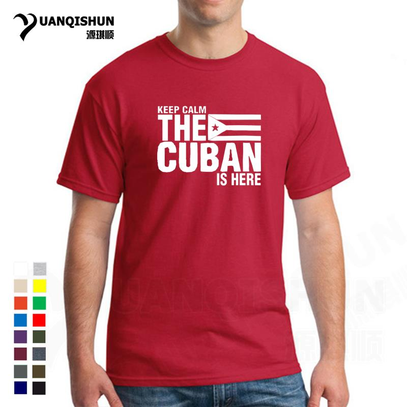 Mens Keep Calm Fear The <font><b>Cuban</b></font> Is Here T <font><b>Shirt</b></font> Fashion Design Men Wholesale Cuba Flag T-<font><b>shirt</b></font> Unisex Short Sleeve O Neck Tshirt image