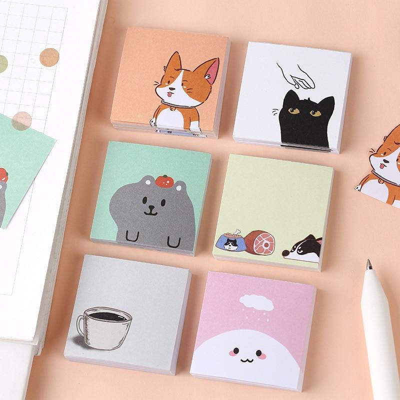 50 Pcs/pack Kawaii Mini Pocket Mood Animals Cartoon Animal Loose Leaf Memo Pad To Do List Planner Notes School Supply Stationery
