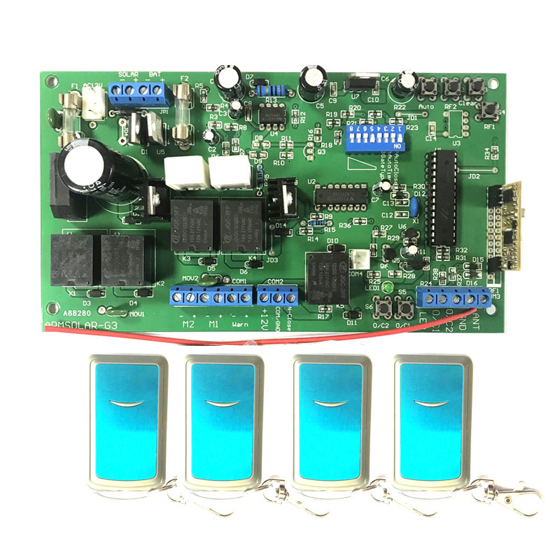 Universal Use 12V DC PCB Board Of Automatic Double Arms Swing Gate Opener Control Board Panel , Motor ( Remote Optional )