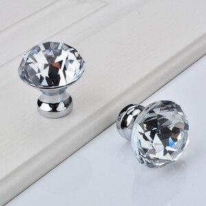 Image 4 - ダイヤモンドクリアクリスタルガラス引き出しキャビネット家具アクセサリーハンドルつまみねじ世界