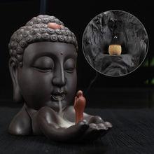 Обратный Ладан горелки Керамика статуя Будды буддийский кадило