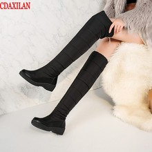 CDAXILAN new arrivals snow boots women soft leather down cloth over-the-knee boots leg-warming plush zip boots middle heel стоимость