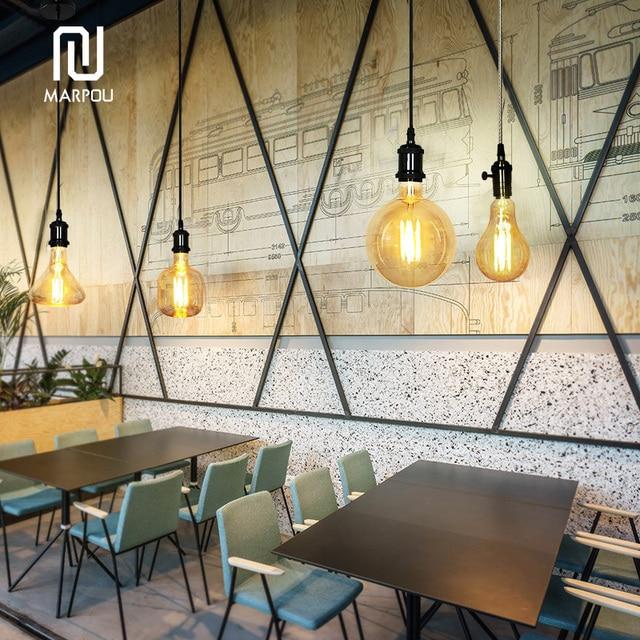 Della Corda del LED Lampada a Sospensione Base AC85-265V Lampadina E27 Presa di Luce Creativa Paese Stile Loft Industriale Luce Del Pendente Decorazioni 5