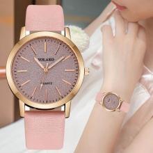 Women Fashion Simple Casual Shimmer Round Dial Faux Leather Band No Number Analog Quartz Wrist Watch relogio feminino/reloj muje