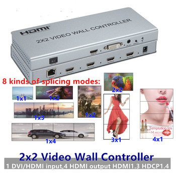 2x2 HDMI DVI Video Wall Controller Adapter LCD 1080P TV wall Processor Switch Split 4-hdmi+Audio Out Connector IR RS232 splicing