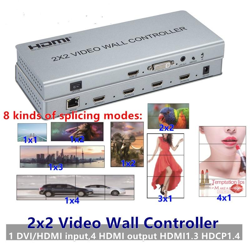 Interruptor do Processador 4-hdmi + Áudio para Fora Hdmi Video Wall Controlador Adaptador Lcd 1080 p tv Parede Divisão Conector ir Rs232 Emenda 2×2 Dvi