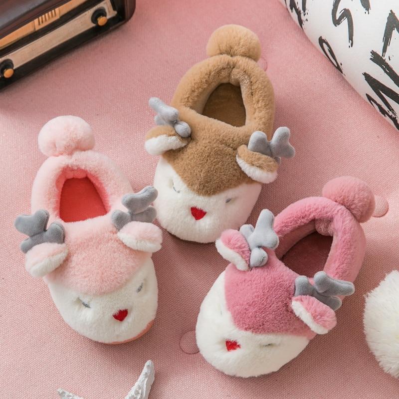 2019 Winter Warm Shoes Children Mum Indoor Slippers Soft Faux Fur Christmas Deer Kids Home Slipper Boys Girls Floor Slides KD161