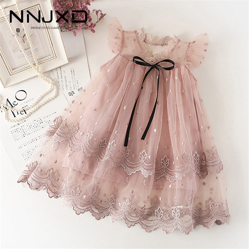 Baby Girl Flower Mesh Embroidery Princess Tutu Dress Children Hollow Out Elegent Wedding Gown Dress For Kids Party Wear Vestidos 1