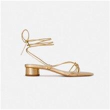 Ag sandálias de salto baixo femininas, sapatos de gladiador, tira dourada, sapatos de casamento sexy, estilo roma, sandália, feminina