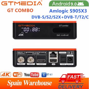 Smart Android 9 W wieku 0 TV pudełko GTMEDIA GT Combo 4K 8K HD DVB-S2 T2 C kabel z dostępem do kanałów satelitarnych odbiornik sygnału TV 2 4G 5G WiFi obsługa BT europa TV TV pudełko tanie i dobre opinie GT MEDIA 1000 M CN (pochodzenie) Procesor Amlogic S905X3 Quad-core 64-bit 16 GB eMMC HDMI 2 0 2G DDR3 802 11n 2 4GHz 5 GHz