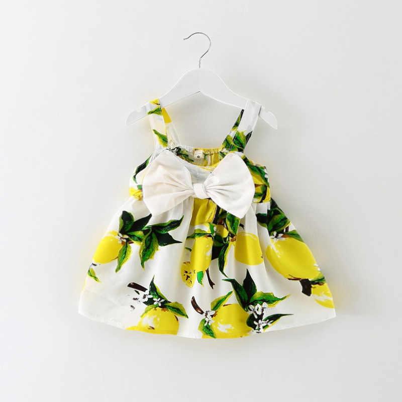 2019New Ragazza Vestito di Cotone Puro di Limone Stampa Dolce Del Bambino Spiaggia della ragazza Archi Abiti Da Principessa