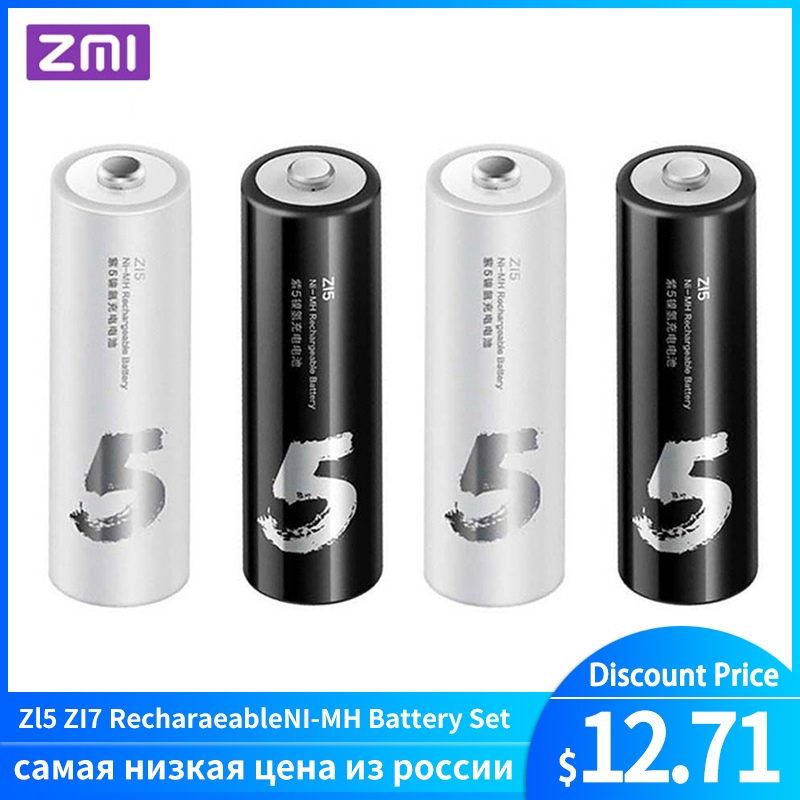 4PC/lot Original ZMI ZI7 ZI5 AAA <font><b>AA</b></font> <font><b>700mAh</b></font> 1800mAh <font><b>1.2V</b></font> Rechargeable Ni-MH <font><b>Battery</b></font> ZIM Power Bank image