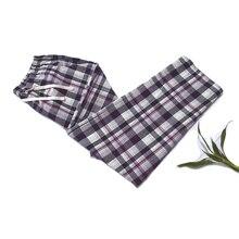 Дешевые свободные штаны хлопок плед Весна Лето Женская сна нижняя часть пижамы штаны для сна Брюки женские пижамы брюки домашняя одежда