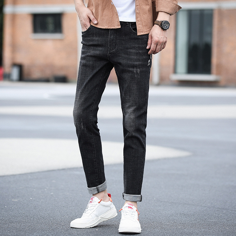 Cool After Bag Small Embroidery Men's Skinny Elasticity Jeans Micro Mall Supply Of Goods JEANS Men's Super Fire Men's Trousers