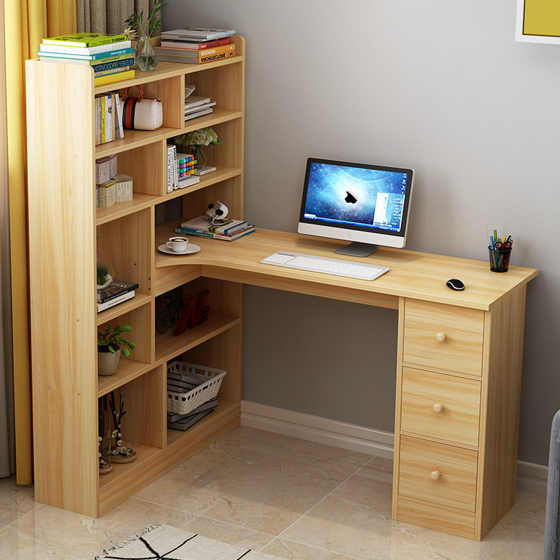Home Computer Desk Simple Corner Desktop Desk Bookcase Bookshelf Combination Modern Desktop Table One-piece STUDENT'S Table