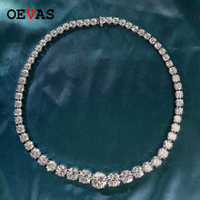 OEVAS 100% 925 Sterling Silver Sparkling Full High Carbon Diamond 18 Inch Bridal Necklace Wedding Engagement Party Fine Jewelry