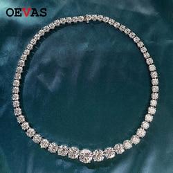 OEVAS 100% 925 en argent Sterling étincelant plein diamant haute teneur en carbone 18 pouces collier de mariée mariage fiançailles fête Fine bijoux