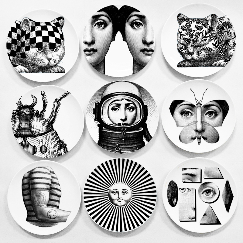 Black&white Illustration Hanging Dishes Room Home Hotel Decor  Face Ceramic Crafts Wall Decor Fornasetti Plates