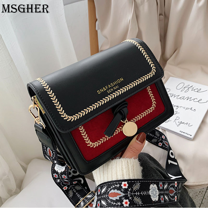 MSGHER Chain PU Leather Crossbody Bags For Women 2020 Small Shoulder Messenger Bag Special Lock Design Female Travel Handbags