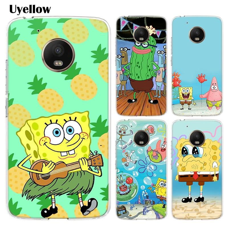 Spongebob Bumper Painted Fashion Soft Comic Phone Case For Motorola MOTO G7 G6 G5S G5 E6 E5 E4 Plus G7 Power G4 Play Cover
