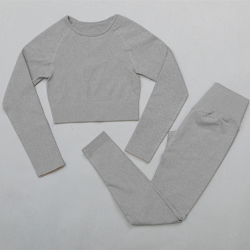 ShirtsPantsGray - Women's sportswear Seamless Fitness Yoga Suit High Stretchy