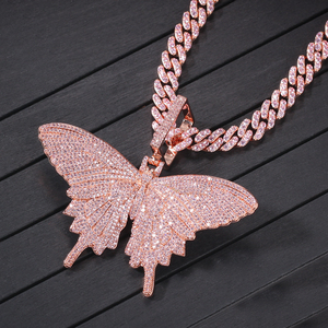 Image 3 - UWIN Hiphop Rose Gold Butterfly Pendant Necklaces Pink Cuban Link Chain For Women Iced Out AAA Cubic Zircon Fashion Jewelry