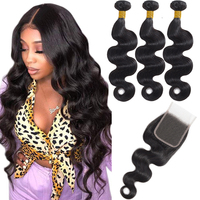 Admutty Brazilian Body Wave Hair Weave Bundles With Closure Human Hair Bundles With Closure Double Weft Non Remy Hair Extensions
