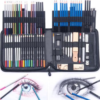 83 sztuk profesjonalny rysunek akwarela tłustej metaliczny kolor zestaw szkic ołówki węgiel sztuki szkicowania materiały malarskie z torbą tanie i dobre opinie CN (pochodzenie) WOOD