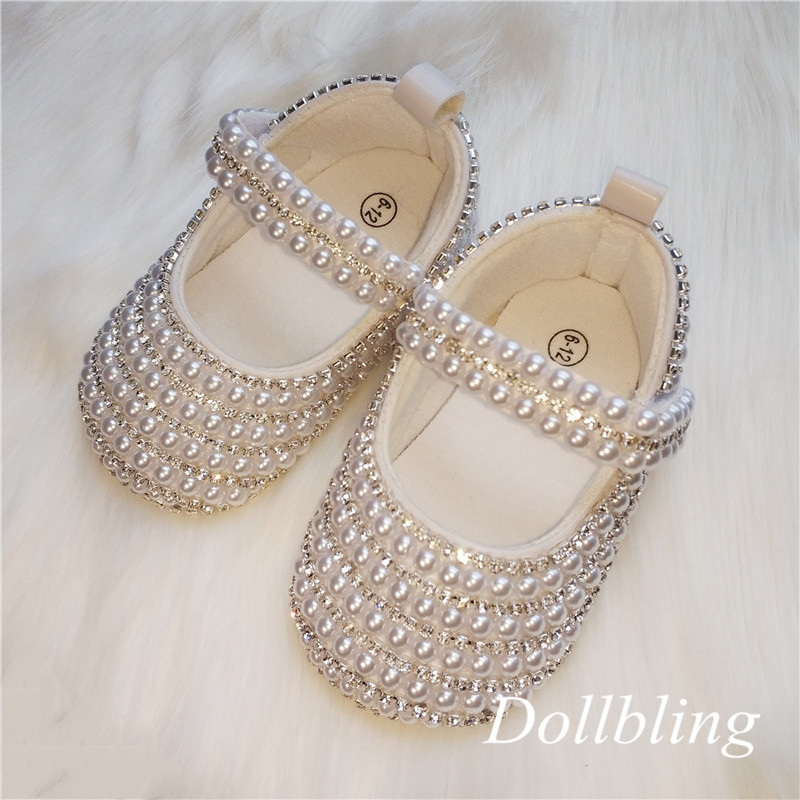 Spring And Autumn New Girls White Pearl Silver Edge Buckle Baby Shoes Baby Princess Shoes One Hundred Days Old Soft Bottom Toddl