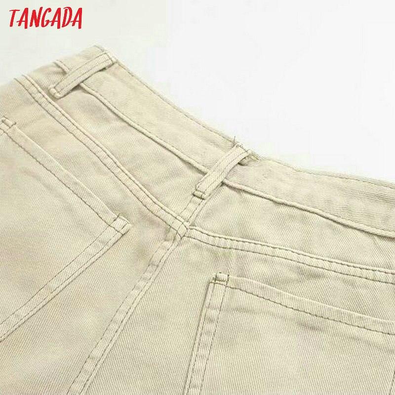 Tangada fashion women loose mom jeans long trousers pockets zipper loose streetwear female pants 4M58 57