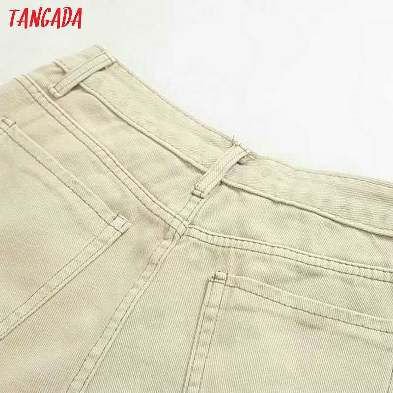 Tangada fashion women loose mom jeans long trousers pockets zipper loose streetwear female pants 4M58 33