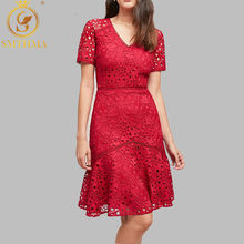 SMTHMA 2019 Summer Lace Patchwork Red Dress Women Sexy V-neck Work Casual Party Slim Dresses Vintage Vestidos(China)