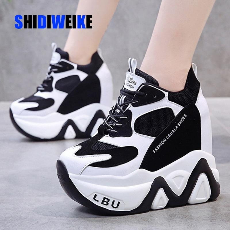 Super High Heels Chunky Sneakers Women Autumn Thick Bottom Height Increasing Casual Shoes Woman Mesh Platform Vulcanize G787