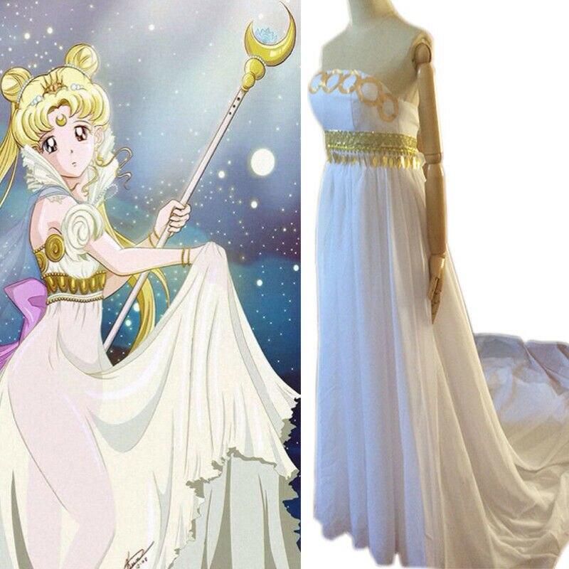 Marin lune princesse sérénité Usagi Tsukino dame Cosplay Costume robe de bal fête de noël longue robe Tube blanche pour les femmes cadeau