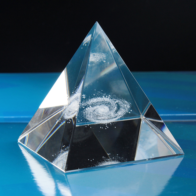 Crystal Pyramid 3D Laser Engraved Galaxy Glass Pyramid Fengshui Figurine Home Decoration Accessories for living room 3