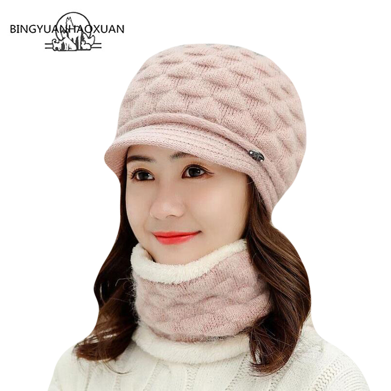 Double layer design winter hats for women warm rabbit fur cap knitted hat Scarf Skullies beanies Berets 2018 New Caps