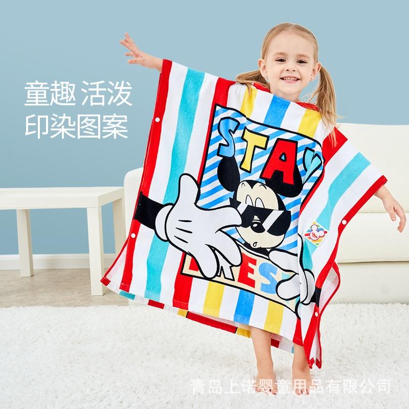 Disney Bath Towel For Children Cotton Hooded Button Down Cloak Bath Towel For Children Cotton Soft Cut Velvet Mantle Kids' Towel